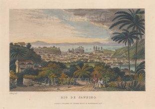 """Kelly: Rio de Janeiro. 1853. A hand coloured original antique steel engraving. 9"""" x 6"""". [SAMp1484]"""