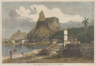 """Illustrated London News: Rio de Janeiro. 1864. A hand coloured original antique wood engraving. 10"""" x 7"""". [SAMp1485]"""