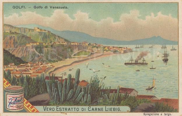 """Liebig's Extract: Gulf of Venezuela. 1893 An original antique chromolithograph. 5"""" x 3"""". [SAMp655]"""