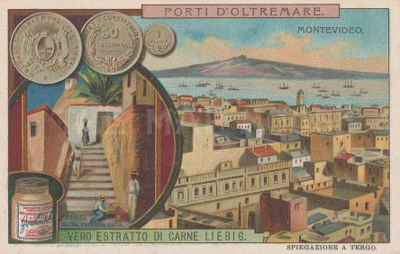"""Liebig's Extract: Montevideo, Uruguay. 1909. An original antique chromolithograph. 4"""" x 3"""". [SAMp781]"""
