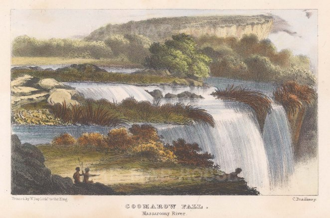 "Murray: Coomarow Falls, Mazaruni River, Guyana. 1835. A hand coloured original antique lithograph. 8"" x 5"". [SAMp950]"