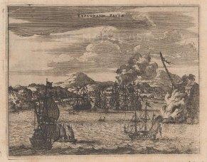 """Ogilby: Paita, Peru. 1671. An original antique copper engraving. 7"""" x 6"""". [SAMp962]"""