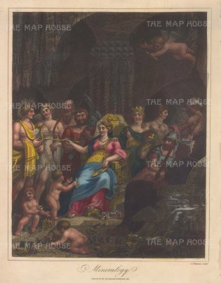 Allegory with the Goddess of Minerology seated on a throne with gryphons, guardias of tresure attended by Cybele (Earth) and Vulcan (Fire), with Apollo (Gold and Topaz), Diana (Silver and Selenites) Saturn (Diamond) Jyupiter (Tin and Saphire), Mars Iron and Ruby), Mercury (Quicksilver and Ametyst) and Venus (Copper and Emerald) Gnomes classify in the foreground with scales and sceptre of touchstone.