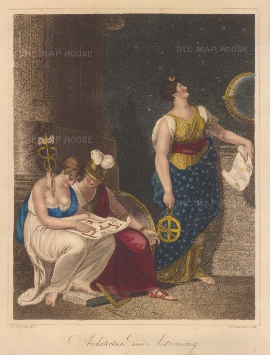 Allegory of Urania with an Astrolobe and Scroll with Architecture attended by Reason carrying Pallas's shield and Mercury's caduceus.
