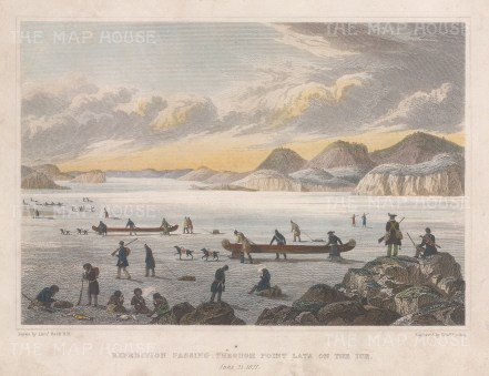 Point Lata: Expedition moving across the ice. Franklin's Coppermine Expedition 1819-22.