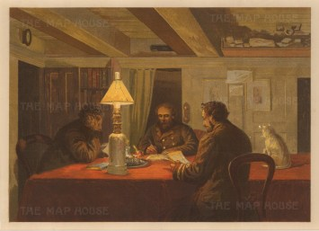 Officers in the wardroom with the ship's cat: From the Expedition of H.M.S.Alert 1875/77