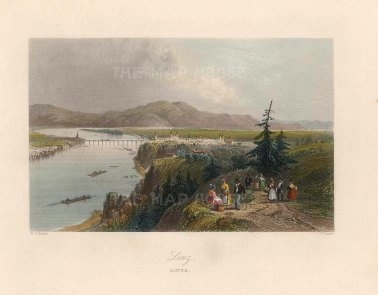 "Bartlett: Linz, Austria. c1840. A hand coloured original antique steel engraving. 8"" x 6"". [AUTp225]"
