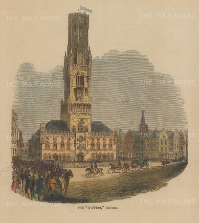 "Illustrated London News: Bruges, Belgium. 1843. A hand coloured original antique wood engraving. 7"" x 6"". [BELp269]"