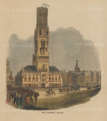 "Illustrated London News: Bruges. 1843. A hand coloured original antique wood engraving. 7"" x 6"". [BELp269]"