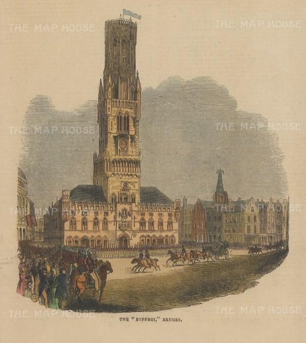 "Illustrated London News: Bruges. 1843. A hand coloured original antique wood engraving. 7"" x 6"". [BELp269]"