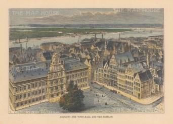 "Reclus: Antwerp, Belgium. 1894. A hand coloured original antique wood engraving. 8"" x 6"". [BELp272]"