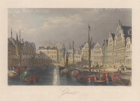 "Allom: Ghent, Belgium. 1840. A hand coloured original antique steel engraving. 7"" x 4"". [BELp273]"