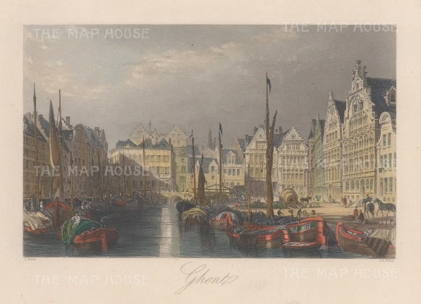 "Allom: Ghent. 1840. A hand coloured original antique steel engraving. 7"" x 4"". [BELp273]"