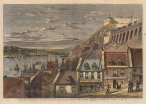 "Illustrated London News: Quebec.1860. A hand coloured original antique wood engraving. 14"" x 10"". [CANp639]"
