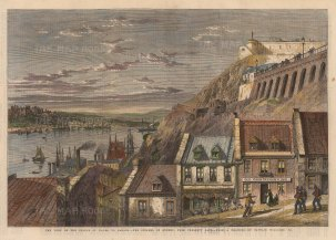 """Illustrated London News: Quebec.1860. A hand coloured original antique wood engraving. 14"""" x 10"""". [CANp639]"""
