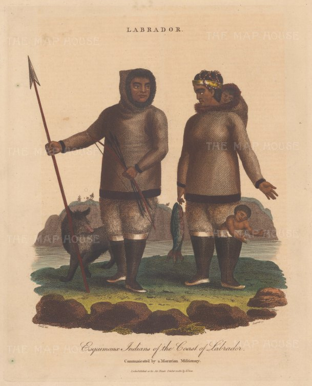 Labrador. Esquimaux Indians in traditional dress. Engraved by John Chapman.
