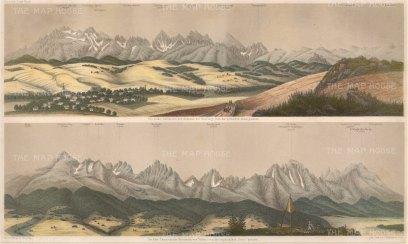 Double panorama of the High Tatras from Szaflary and Vazec, Slovakia. With key.