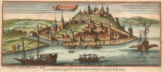 "Peeters: Belgrade, Serbia. 1696. A hand coloured original antique copper engraving. 10"" x 4"". [CEUp450]"