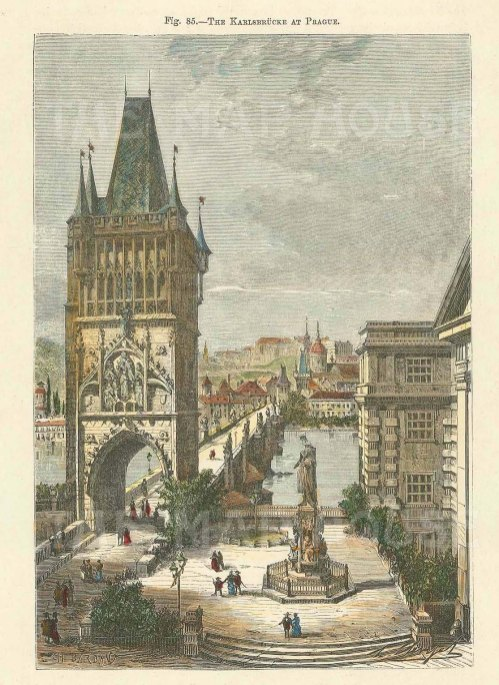 """Anononymous: Prague, Czech Republic. c1875. A hand coloured original antique wood engraving. 8"""" x 7"""". [CEUp500]"""