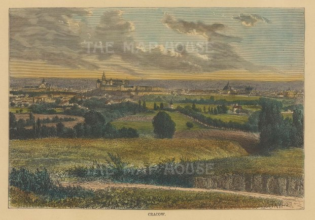 "Reclus: Cracow, Poland. 1894. A hand coloured original antique wood engraving. 8"" x 6"". [CEUp519]"