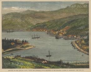 "Illustrated London News: Dubrovnik, Croatia. 1881. A hand coloured original antique wood engraving. 10"" x 7"". [CEUp525]"