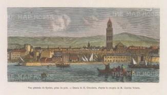 "Garnier: Split, Croatia. 1876. A hand coloured original antique wood engraving. 6"" x 3"". [CEUp539]"