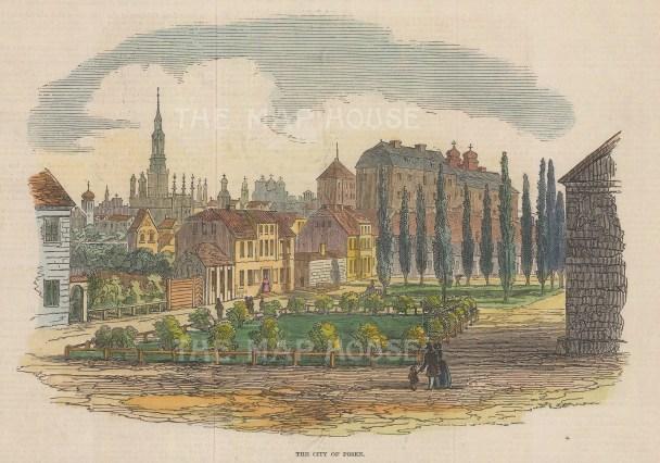 "Illustrated London News: Posen, Poland. 1846. A hand coloured original antique wood engraving. 9"" x 6"". [CEUp541]"