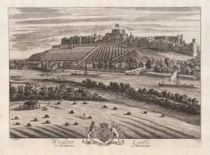 """Kip: Windsor Castle. 1715. An original antique copper engraving. 19"""" x 14"""". [ENGp280]"""