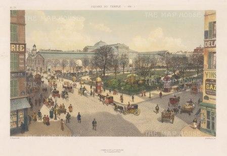 "Hoffbauer: Temple Square. 1881. A hand coloured original antique lithograph. 14""x 10"". [FRp1050]"