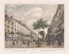"""Benoist: Boulevard des Italien, Paris. c1850. A hand coloured original antique lithograph. 18"""" x 12"""". [FRp1251]"""