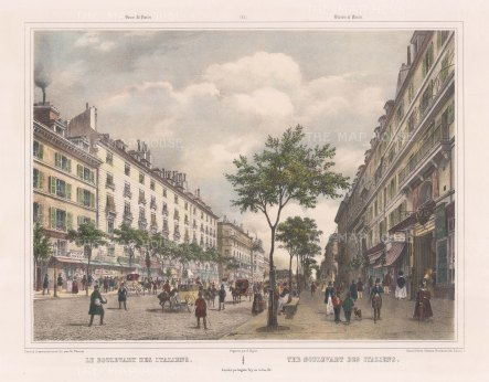 "Benoist: Boulevard des Italien, Paris. c1850. A hand coloured original antique lithograph. 18"" x 12"". [FRp1251]"