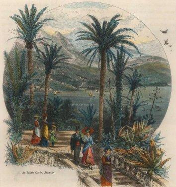 "Picturesque Mediterranean: Monaco. c1880. A hand coloured original antique wood engraving. 7"" x 8"". [FRp1475]"