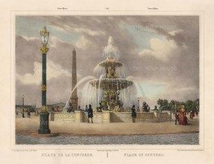 """Benoist: Place de la Concord, Paris. c1850. A hand coloured original antique lithograph. 18""""x 12"""". [FRp1608]"""