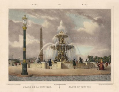 "Benoist: Place de la Concord, Paris. c1850. A hand coloured original antique lithograph. 18""x 12"". [FRp1608]"