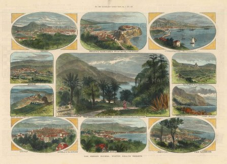 French Riviera: Views of Monte Carlo, Villefranche, La Turble, Beaulieu, Mentone, Nice, Cannes, Eze, Grasse and Hyres.
