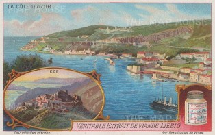 "Liebig's Extract: Eze. c1912. An original antique chromolithograph. 5"" x 3"". [FRp1643]"
