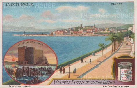 "Liebig's Extract: Cannes. c1912. An original antique chromolithograph. 5"" x 3"". [FRp1646]"