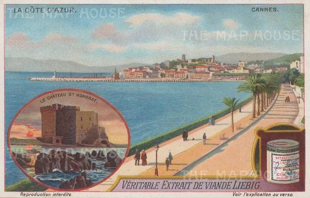 "Liebig's Extract: Cannes. c1912. An original antique chromolithograph. 5"" x 3"". [FRp1646]"