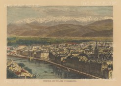 "Reclus: Grenoble. 1894. A hand coloured original antique wood engraving. 8"" x 6"". [FRp1650]"