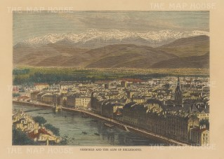 "Reclus: Grenoble. 1894. A hand coloured original antique wood engraving. 8"" x 6"". [FRp1650]"