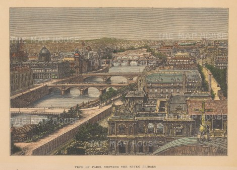 "Reclus: Paris. 1894. A hand coloured original antique wood engraving. 8"" x 6"". [FRp1658]"
