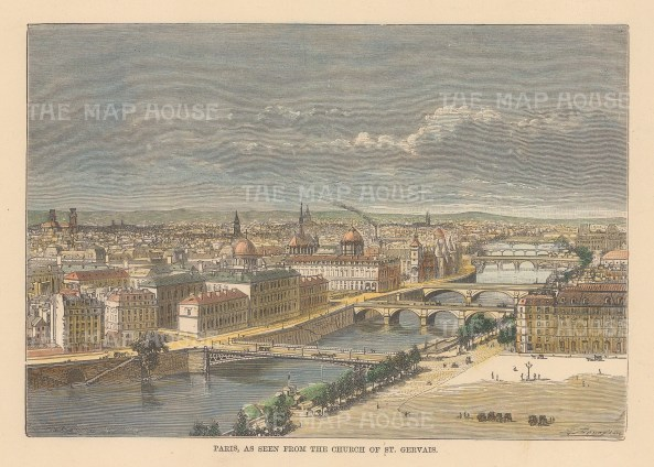 "Reclus: Paris. 1894. A hand coloured original antique wood engraving. 8"" x 6"". [FRp1659]"