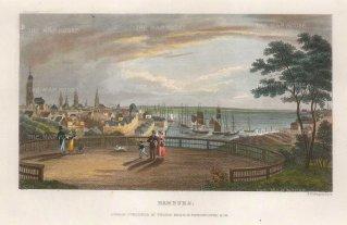 "Kelly: Hamburg. c1840. A hand coloured original antique steel engraving. 8"" x 5"". [GERp1256]"