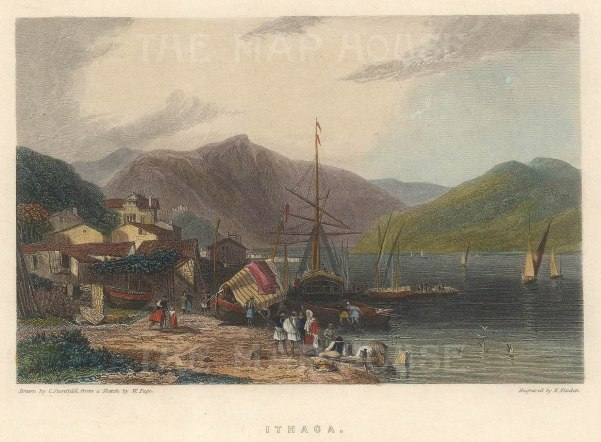 """Fullarton & Co.: Ithaca. 1856. A hand coloured original antique steel engraving. 5"""" x 4"""". [GRCp880]"""