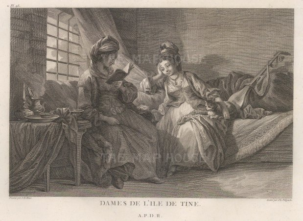 "Gouffier: Tinos. 1782. An original antique copper engraving. 16"" x 10"". [GRCp887]"