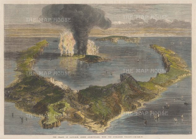 "Illustrated London News: Santorini. 1866. A hand coloured original antique wood engraving. 14"" x 9"". [GRCp899]"