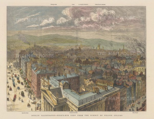 Panoramic view of Dublin from summit of Nelson's column: From Sackville St to the Four Courts, towards Wicklow Hills and Christ Church Cathedral.