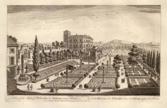 View of the Cortile del Belvedere designed by Donato Bramante in the early 16th century.