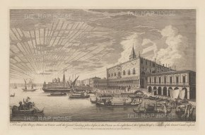 Palazzo Ducale. Panoramic view of the Palace, the Ponte dei Sospiri, Prigioni Nuove, Dogana di Mari and entrance to the Grand Canal.