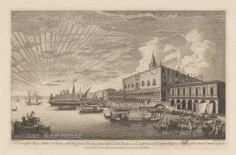 Venice: Palazzo Ducale. Panoramic view of the Palace, the Ponte dei Sospiri, Prigioni Nuove, Dogana di Mari and entrance to the Grand Canal.